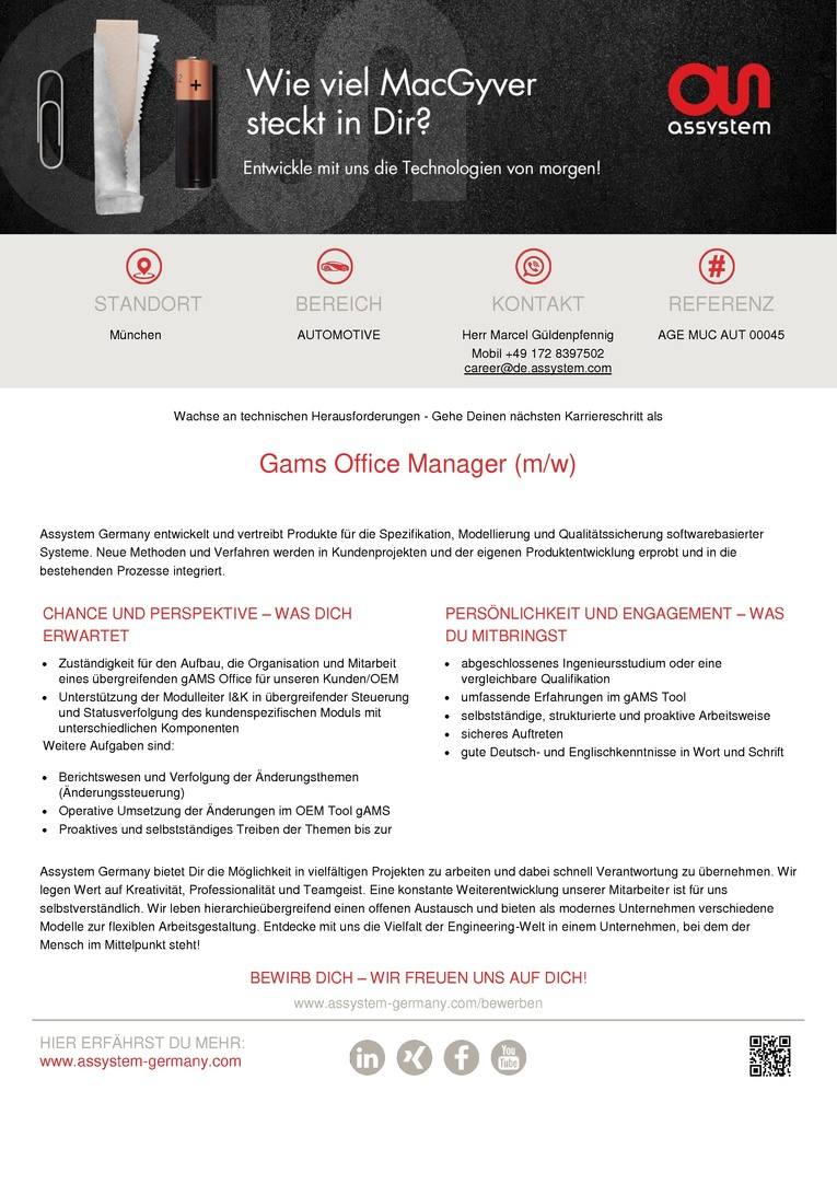 Gams Office Manager (m/w)