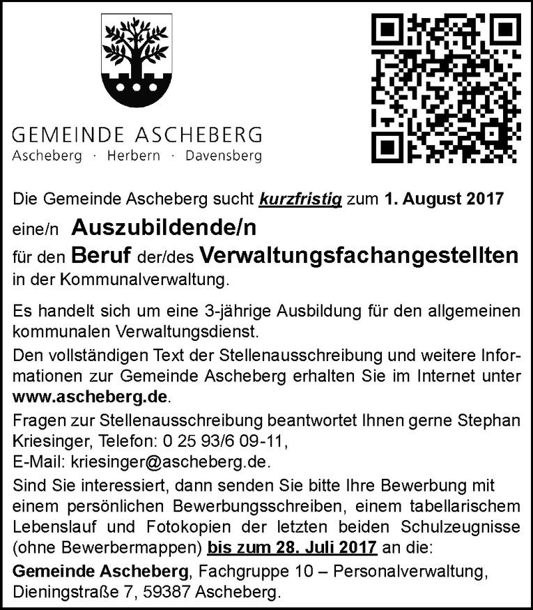 Ausbildung: Verwaltungsfachangestellte in der Kommunalverwaltung (m/w)
