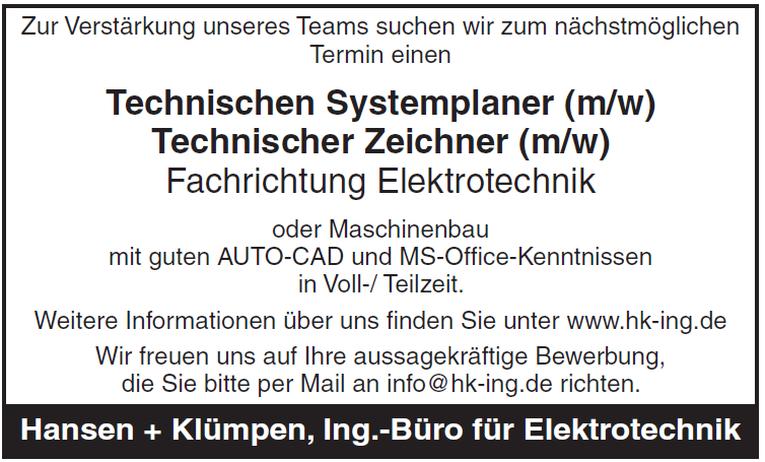 Technischen Systemplaner (m/w) Technischer Zeichner (m/w)