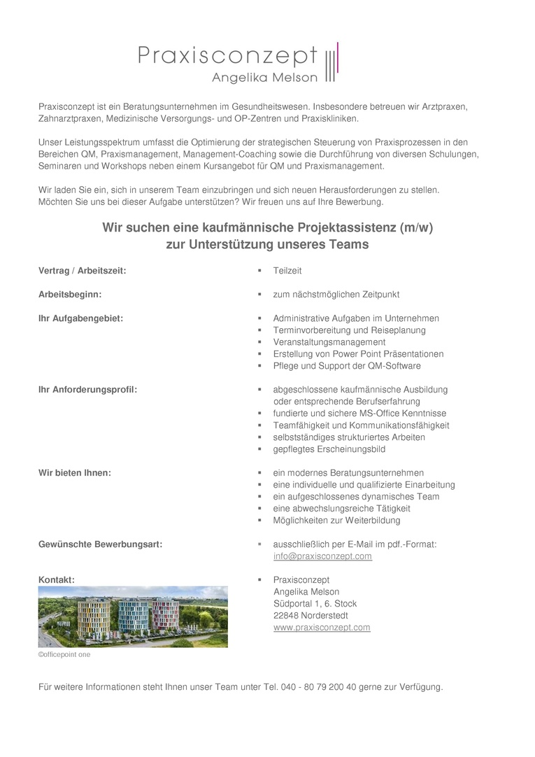 Kaufmännische Projektassistenz (m/w) in Teilzeit