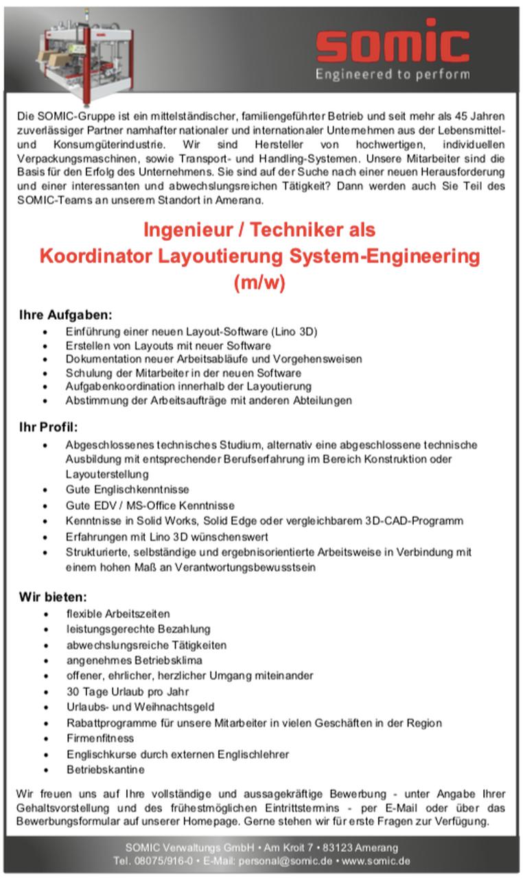 Ingenieur / Techniker als Koordinator Layoutierung System-Engineering (m/w)