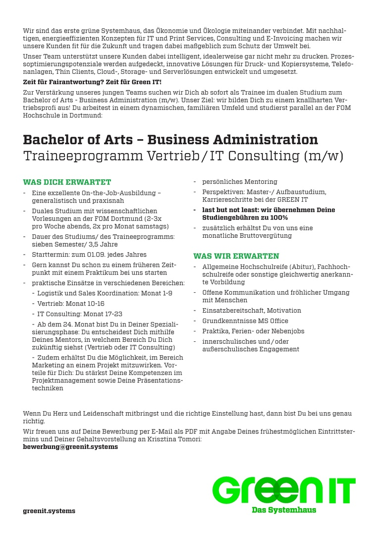 Bachelor of Arts - Business Administration (m/w)// Traineeprogramm Vertrieb/ IT Consulting