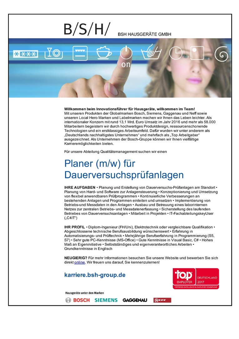 Planer (m/w) für Dauerversuchsprüfanlagen