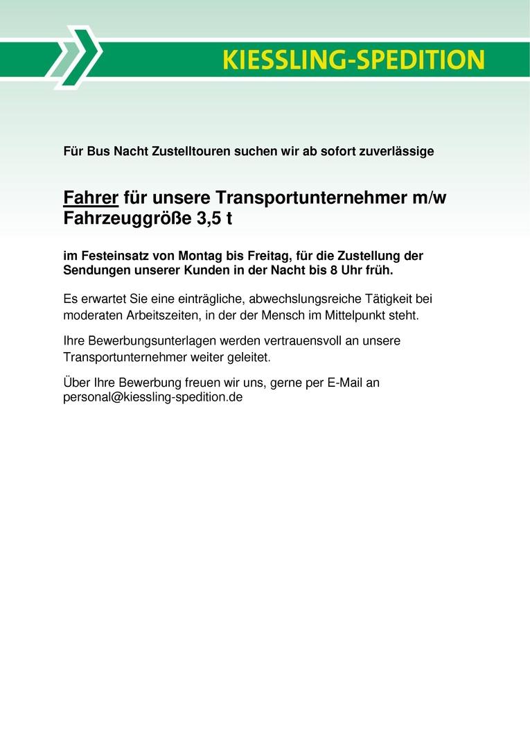 Fahrer für unsere Transportunternehmer m/w Fahrzeuggröße 3,5 t