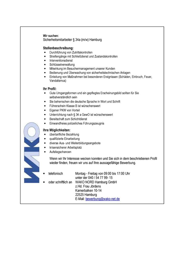 Sicherheitsmitarbeiter/innen IHK und § 34a