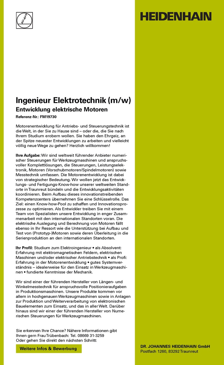Ingenieur Elektrotechnik (m/w)