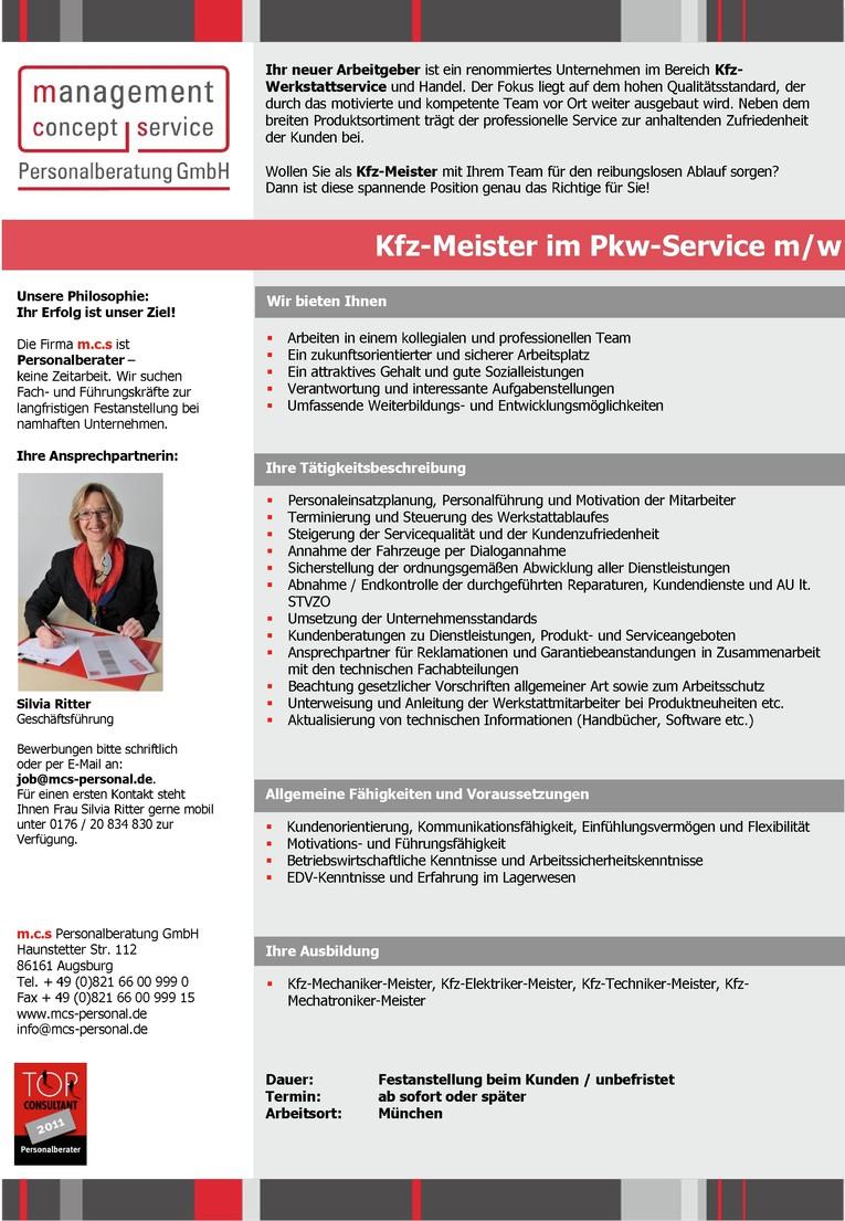 Kfz-Meister im PKW-Service m/w
