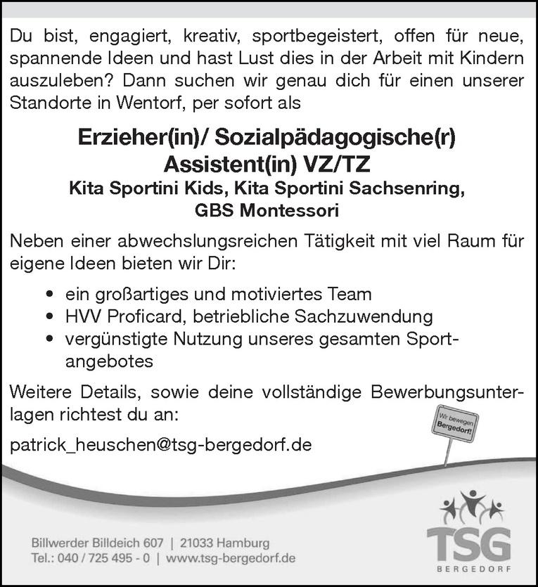 Erzieher(in)/ Sozialpädagogische(r) Assistent(in)