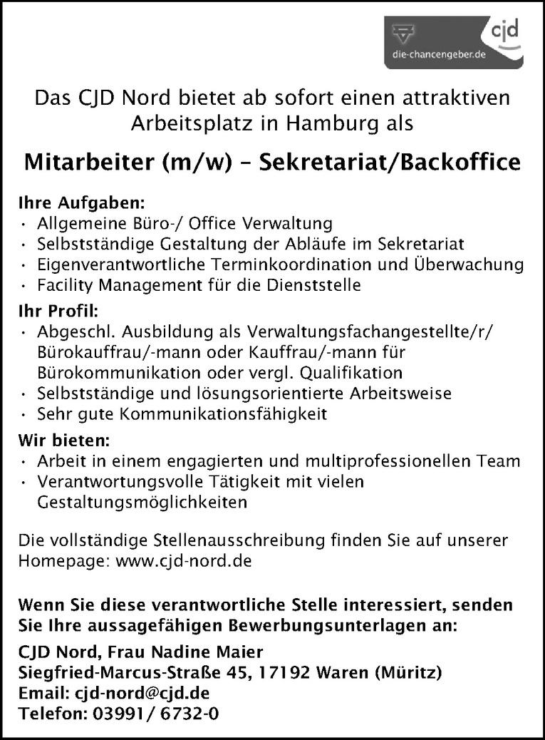 Mitarbeiter – Sekretariat / Backoffice (m/w)