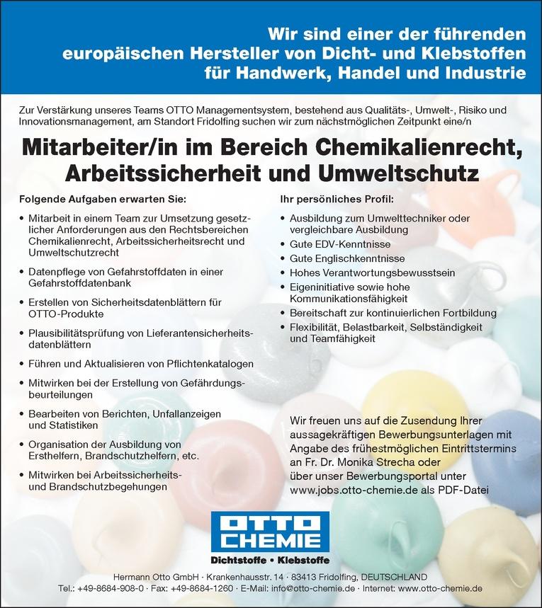 Mitarbeiter/in im Bereich Chemikalienrecht, Arbeitssichert und Umweltschutz