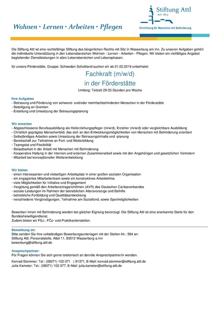 Job Fachkraft In Der Förderstätte Mwd In Teilzeit 29 33