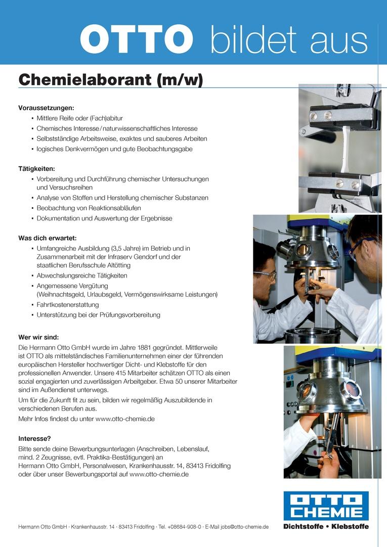 Ausbildung zum  Chemielaborant (m/w) zum 1. September 2018