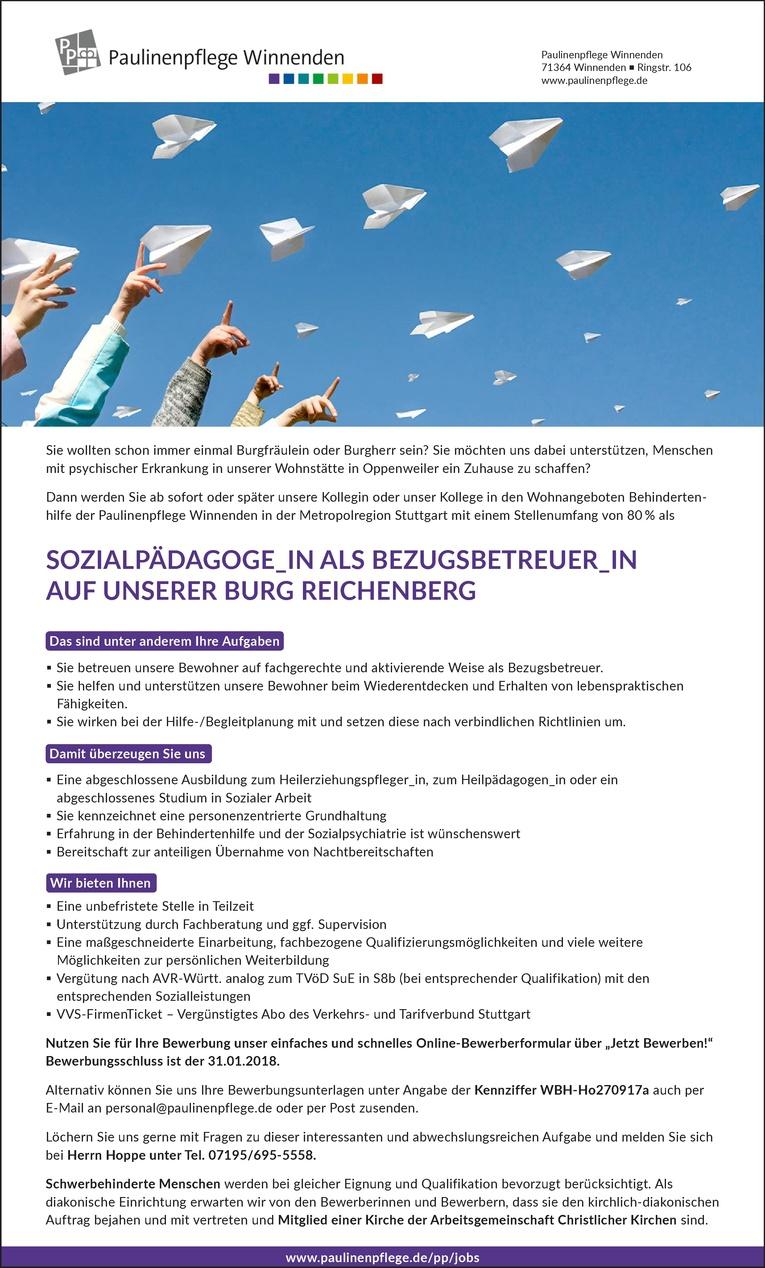 Sozialpädagoge_in als Bezugsbetreuer_in auf unserer Burg Reichenberg