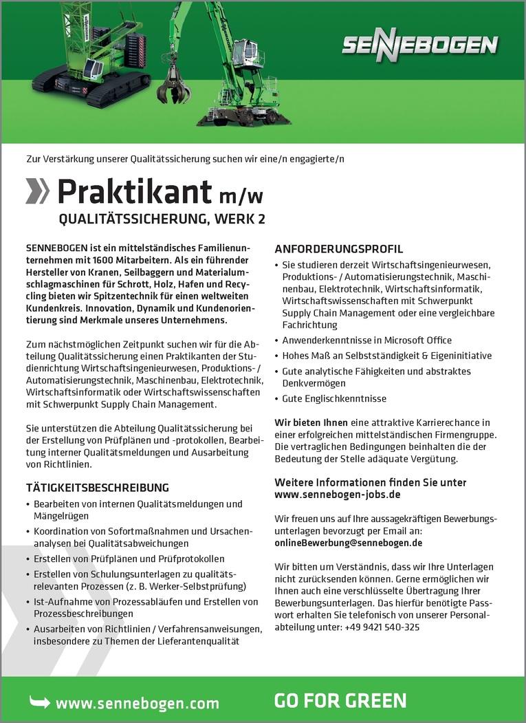 Job: Praktikant (m/w) Qualitätssicherung - Job-Nr. 3051