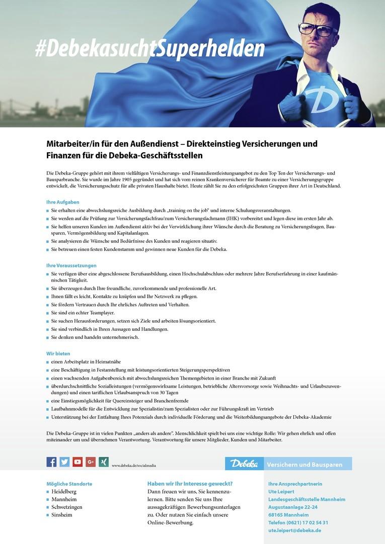 Mitarbeiter/in für den Außendienst – Direkteinstieg Versicherungen und  Finanzen für die Debeka-Geschäftsstelle