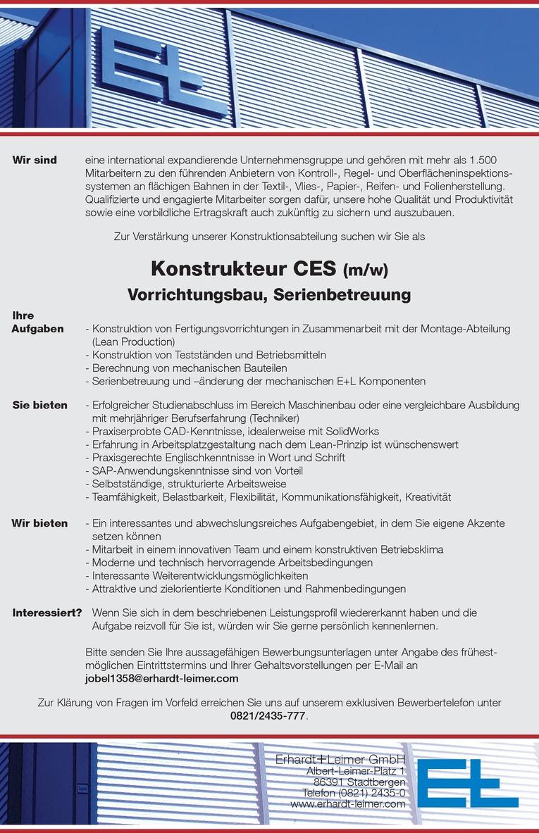 Konstrukteur CES - Vorrichtungsbau, Serienbetreuung (m/w)