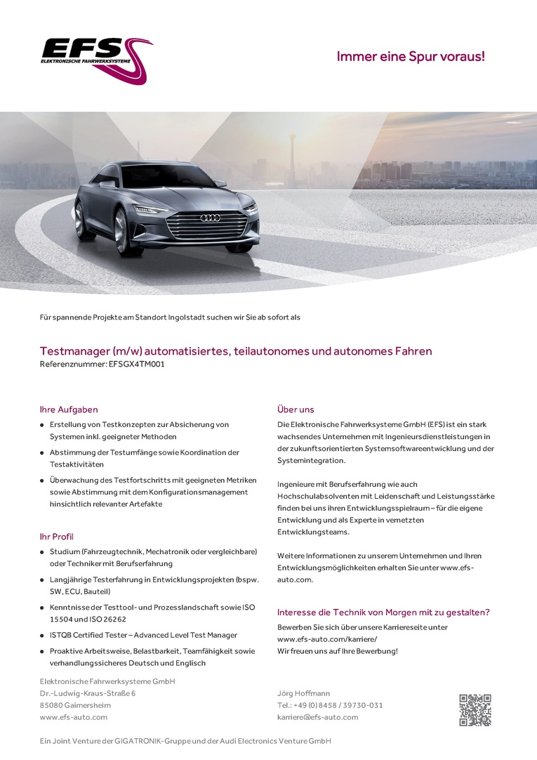 TESTMANAGER (M/W) AUTOMATISIERTES, TEILAUTONOMES UND AUTONOMES FAHREN