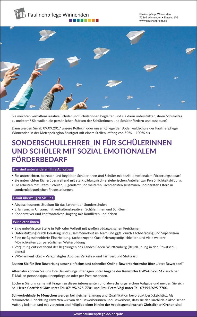 Sonderschullehrer/in für Schülerinnen und Schüler mit sozial emotionalem Förderbedarf