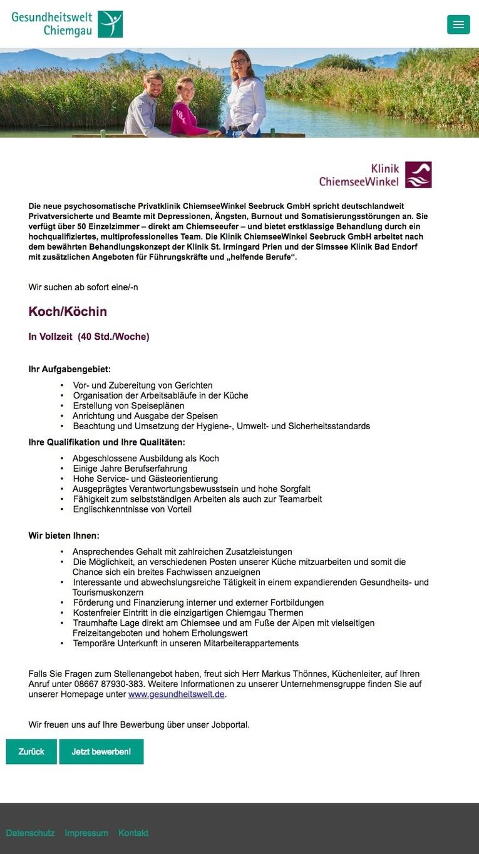 Job: Koch/Köchin in Vollzeit (40 Std./Woche)
