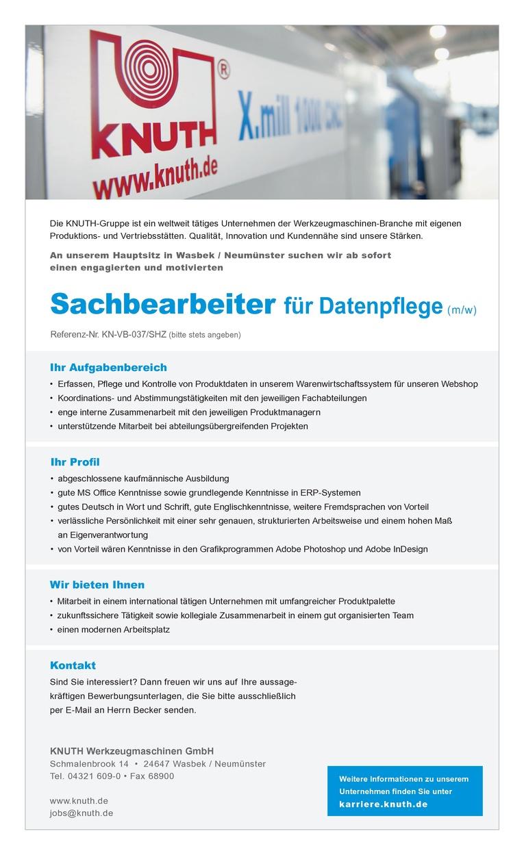 Sachbearbeiter für Datenpflege (m/w)