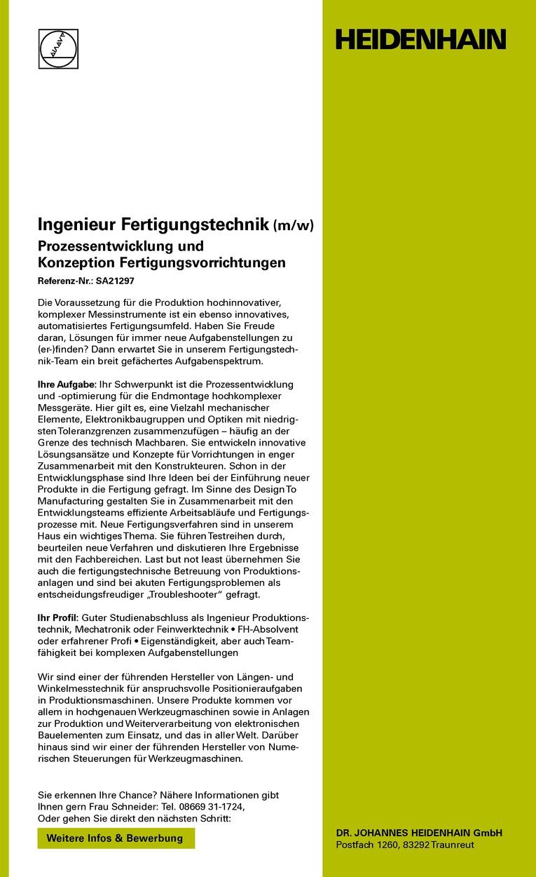 Ingenieur Fertigungstechnik (m/w) Prozessentwicklung und Konzeption Fertigungsvorrichtungen