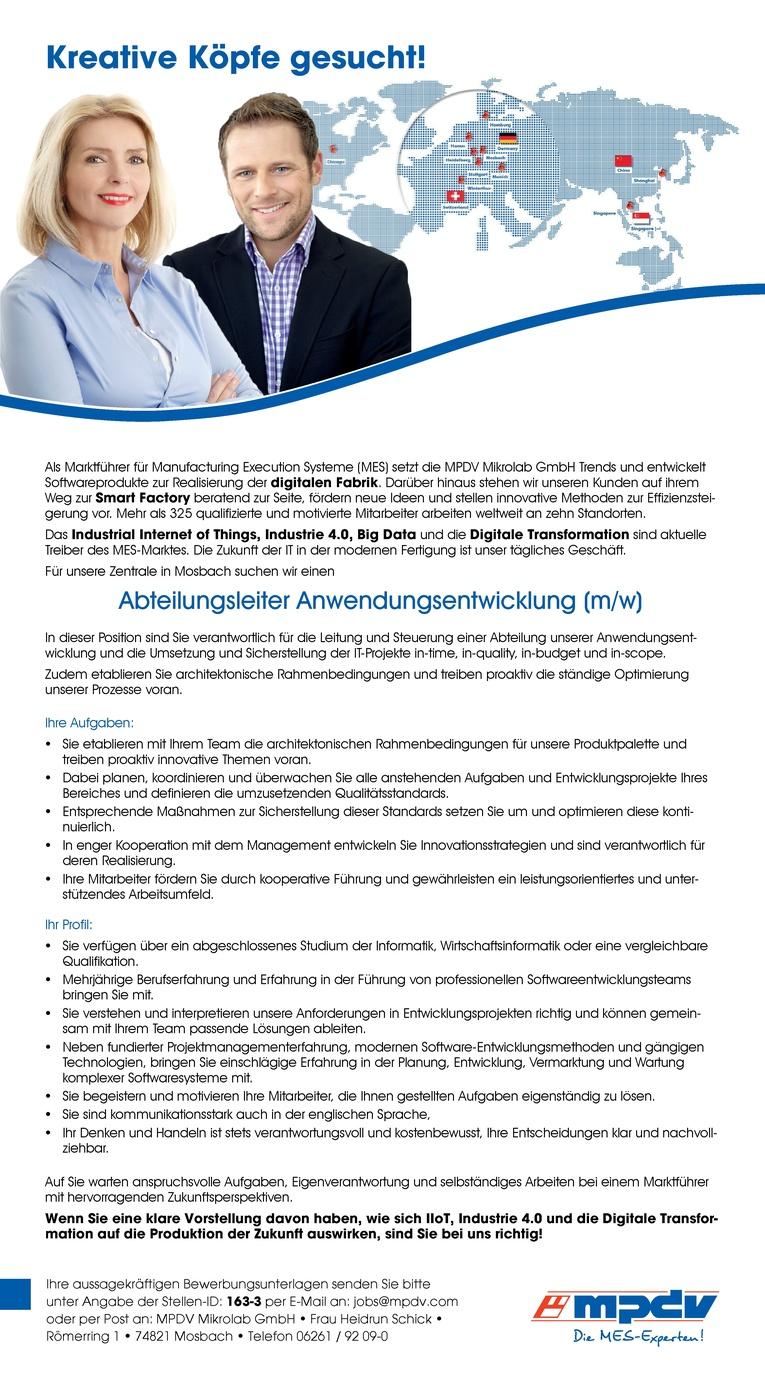 Abteilungsleiter Anwendungsentwicklung (m/w)