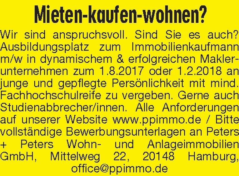 Ausbildung: Immobilienkaufmann m/w