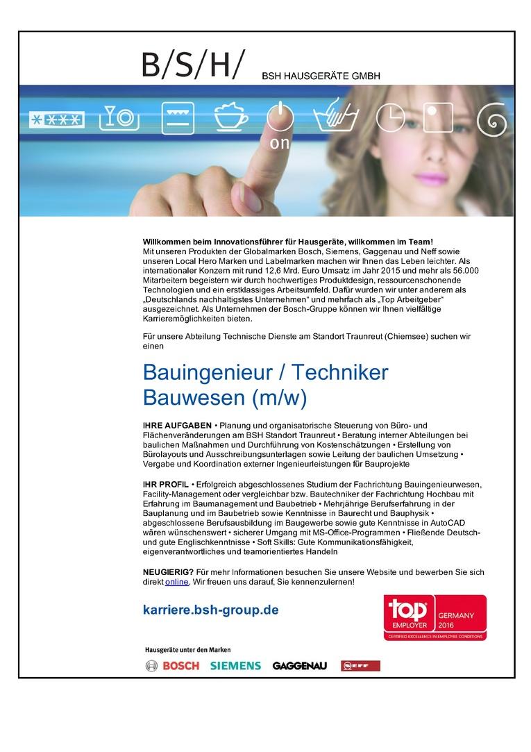 Bauingenieur / Techniker Bauwesen (m/w)