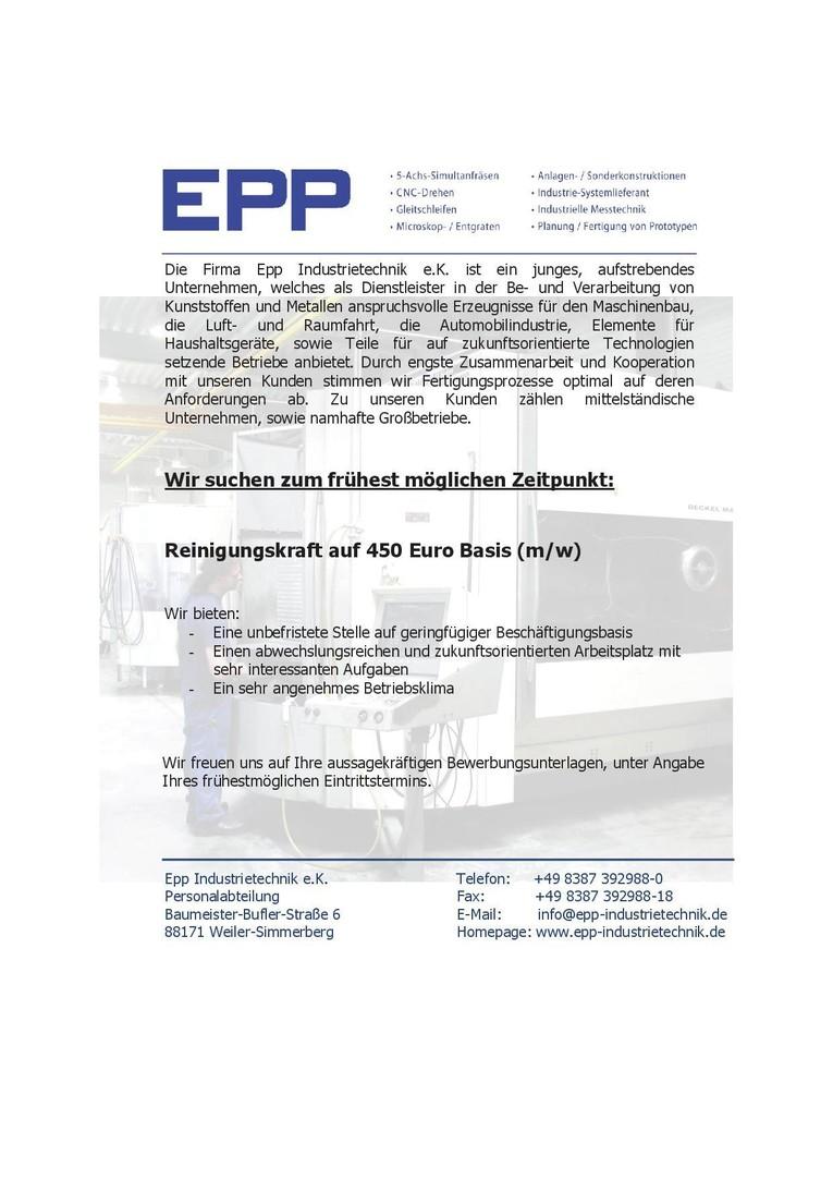 Reinigungskraft auf 450 Euro Basis (m/w)