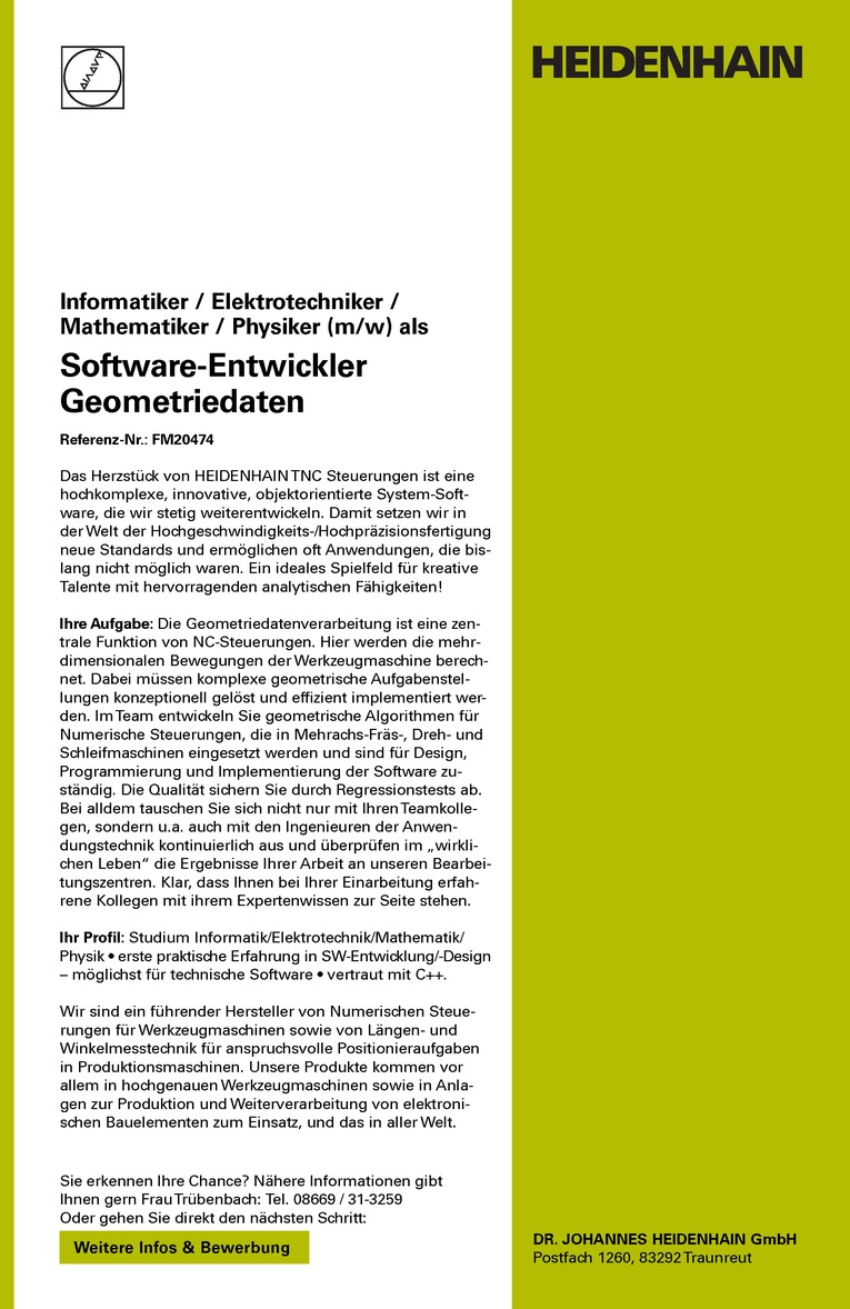 Software-Entwickler Geometriedaten (m/w)