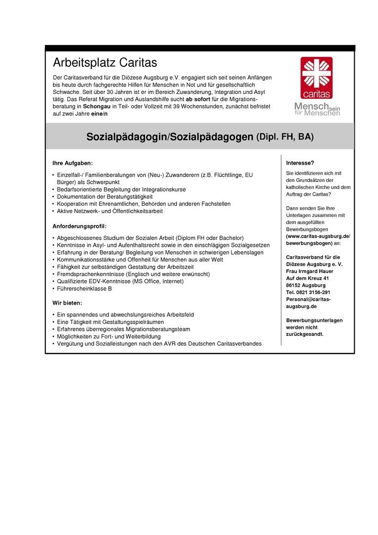 Sozialpädagogin/Sozialpädagoge Migrationsberatung
