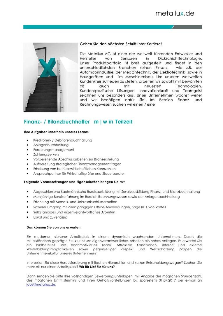Finanz- / Bilanzbuchhalter m | w  Teilzeit