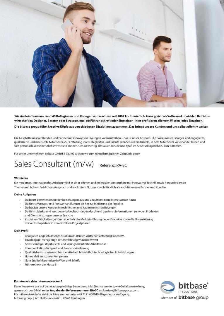 Sales Consultant (m/w)