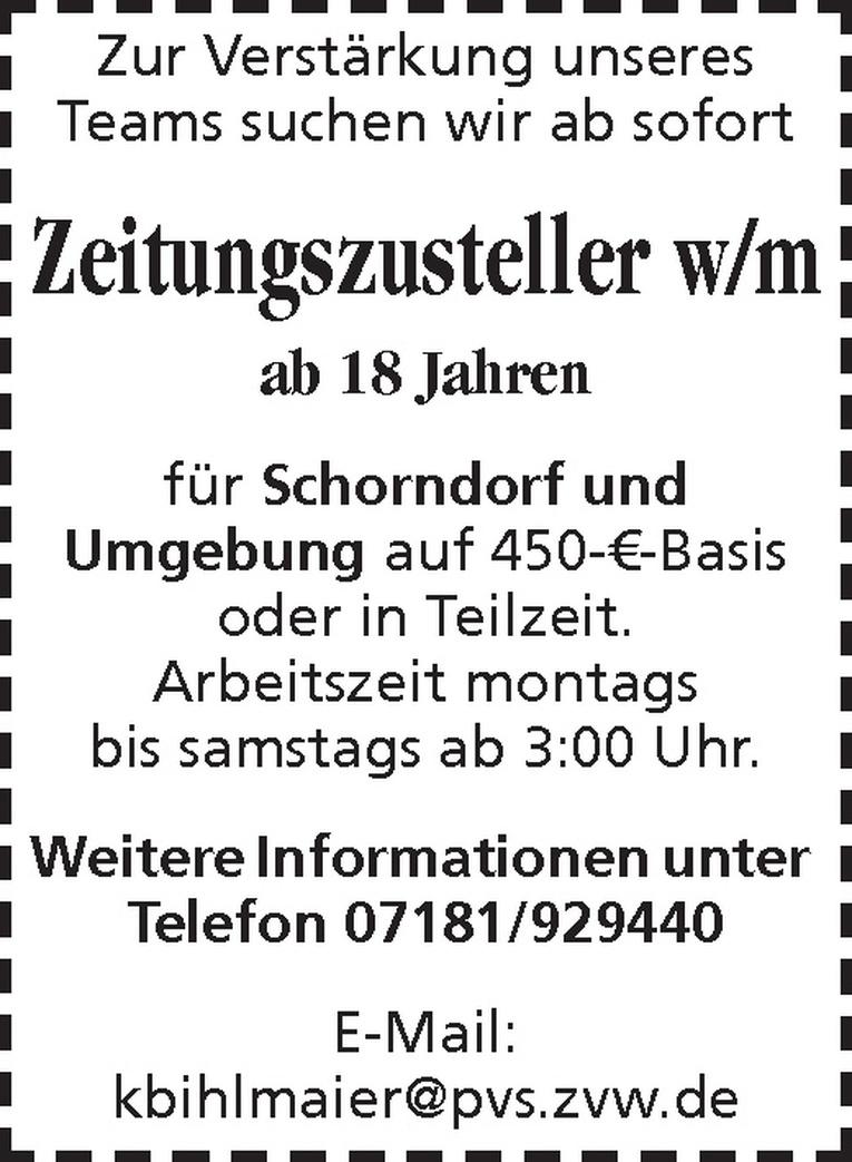 Zeitungszusteller w/m