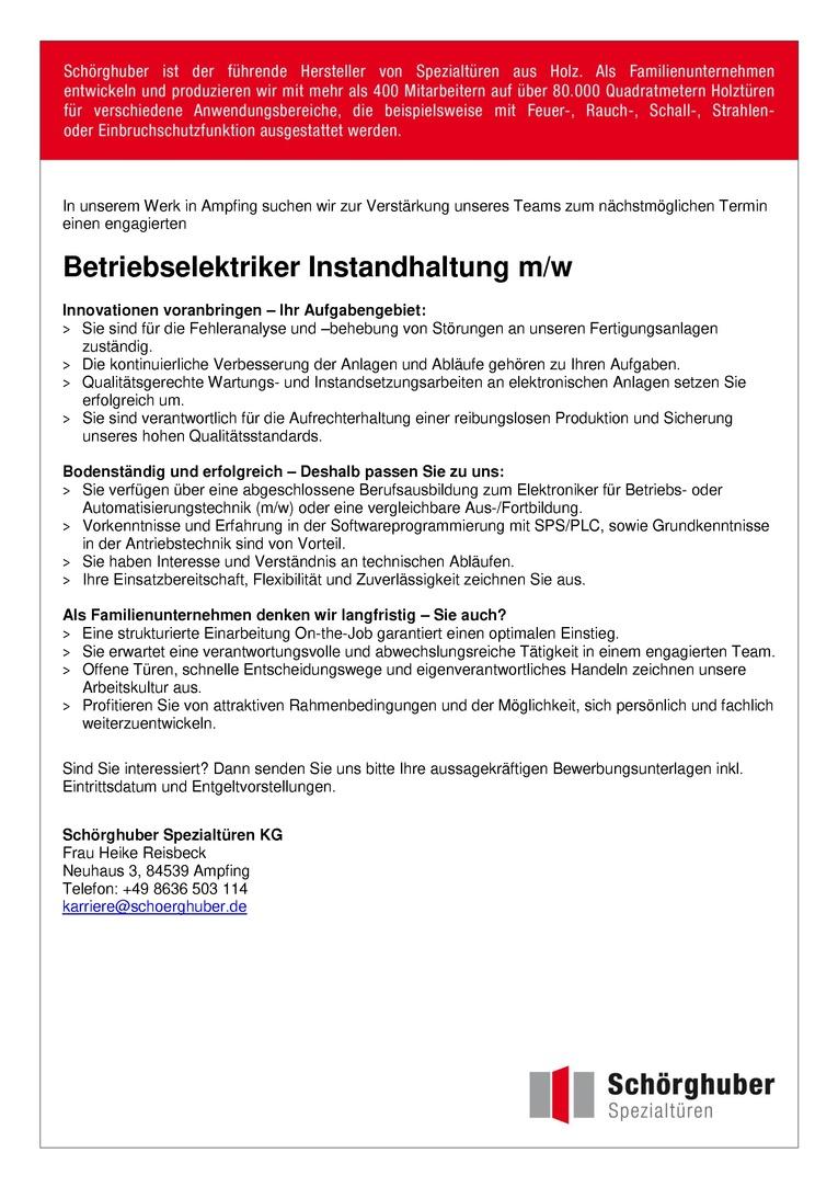 Betriebselektriker Instandhaltung m/w
