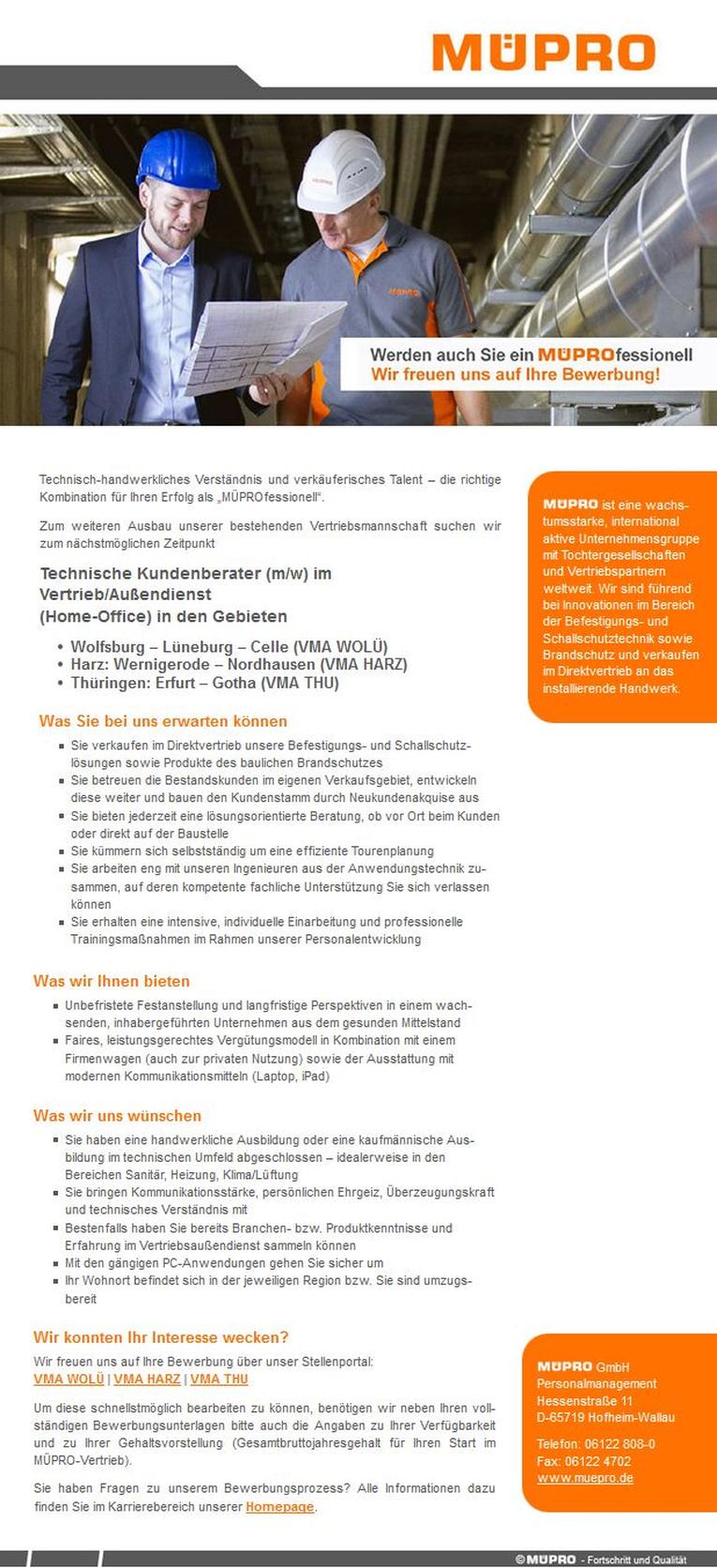 Technischer Kundenberater (m/w) im Vertrieb/Außendienst (Home-Office) für Thüringen (Erfurt – Gotha)