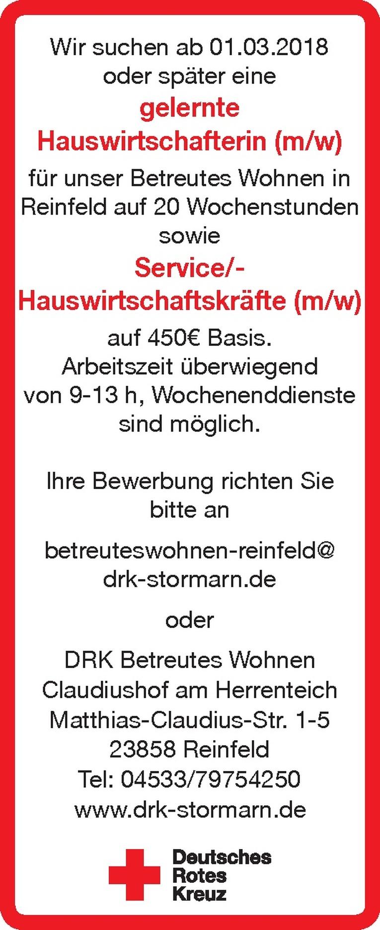 Service/Hauswirtschaftskräfte (m/w)