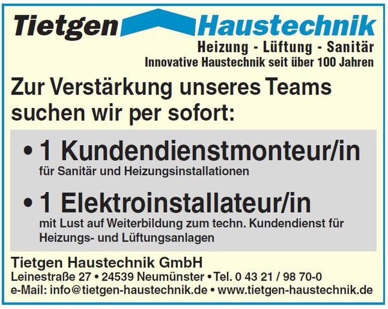 • Kundendienstmonteur/in  •  Elektroinstallateur/in für Heizungs- und Lüftungsanlagen