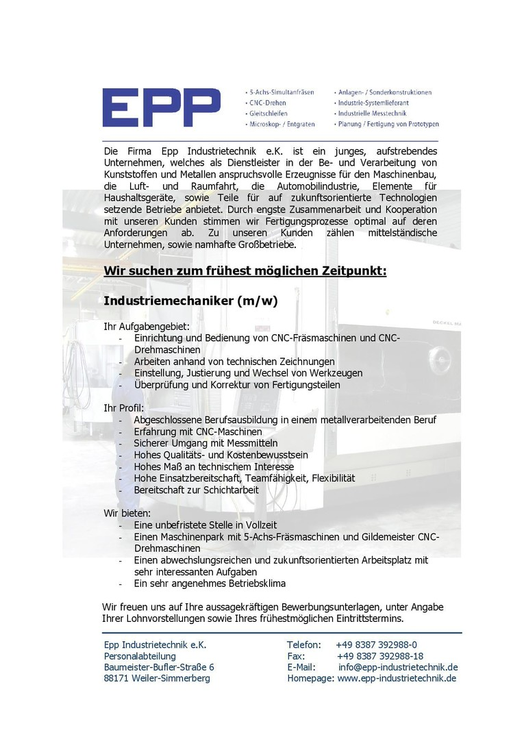 Industriemechaniker (m/w)