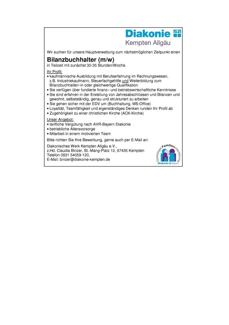 Bilanzbuchhalter (m/w) in der Hauptverwaltung