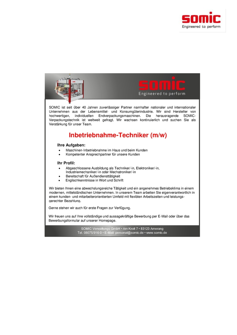 Inbetriebnahme-Techniker (m/w)