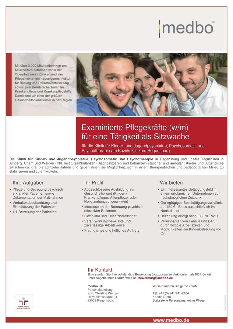 Examinierte Pflegekräfte (w/m) für eine Tätigkeit als Sitzwache