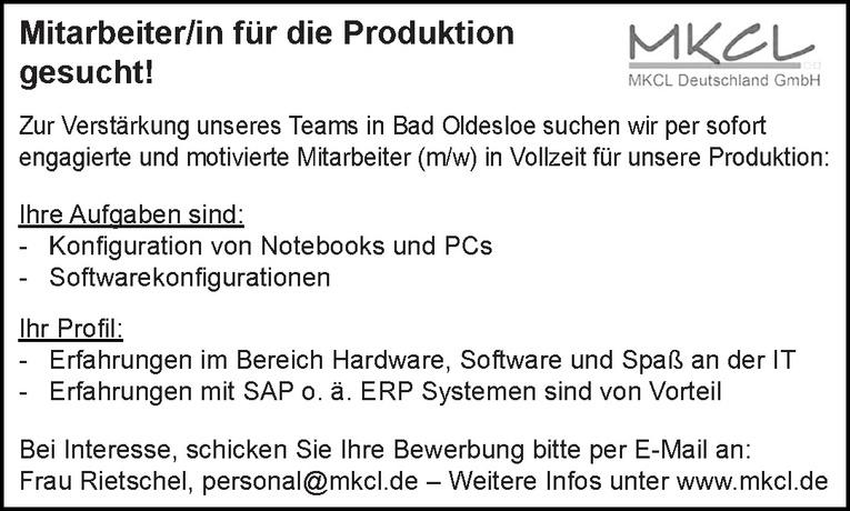 Mitarbeiter/in für die Produktion