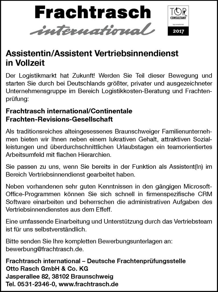 Assistentin / Assistent Vertriebsinnendienst
