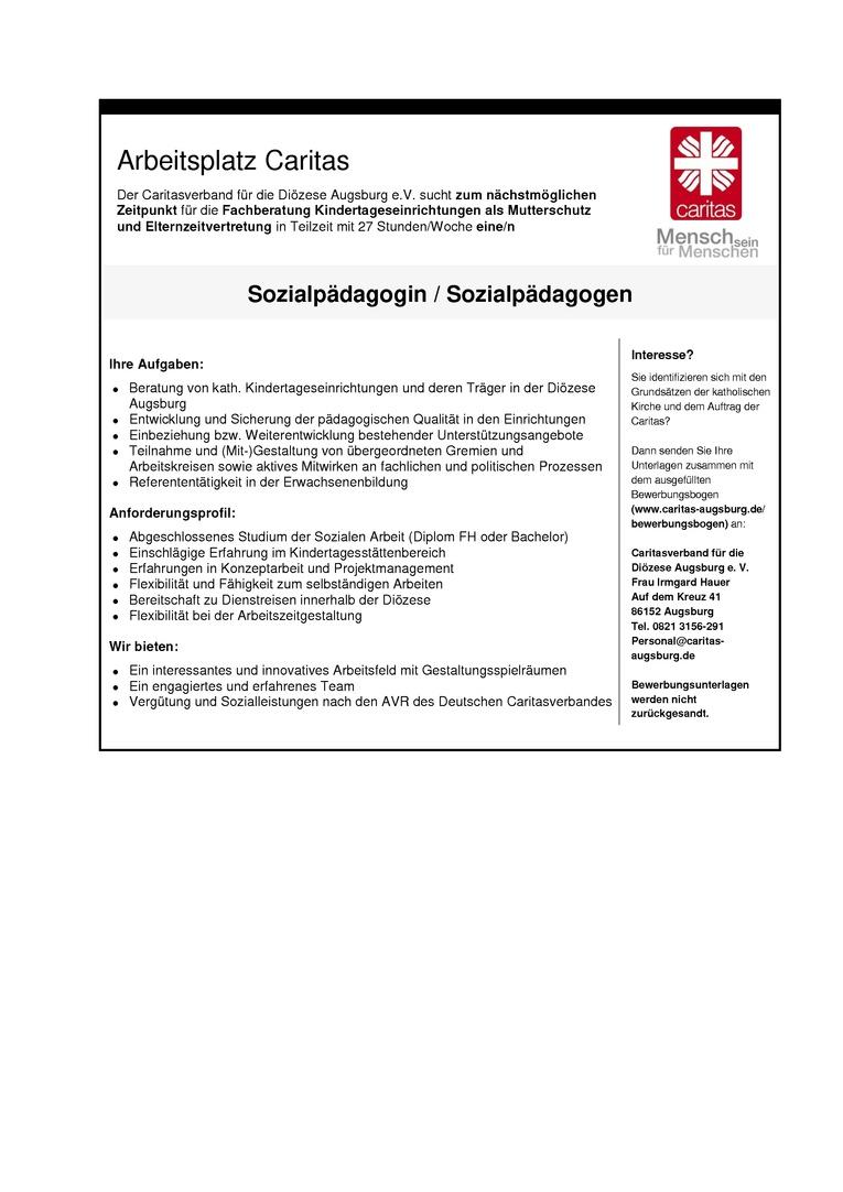 Sozialpädagoge/Sozialpädagogin Fachberatung Kindertageseinrichtungen