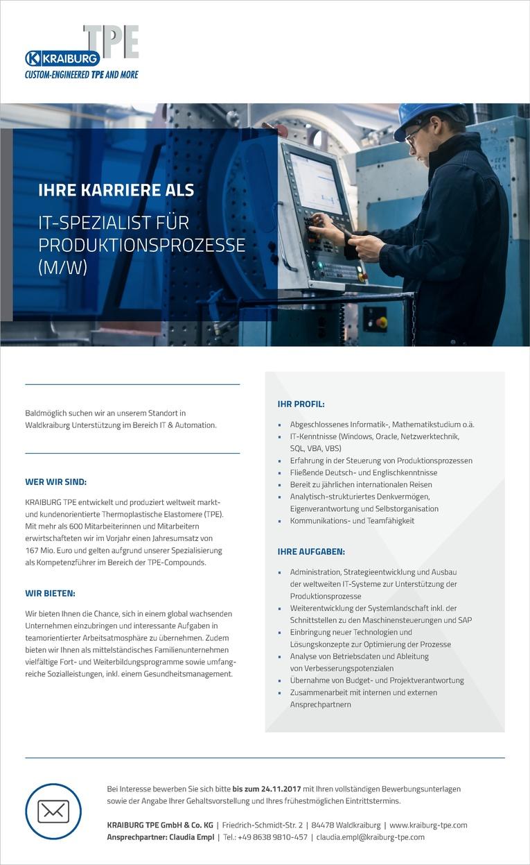 IT-Manager / IT-Spezialist für Produktionsprozesse (m/w)