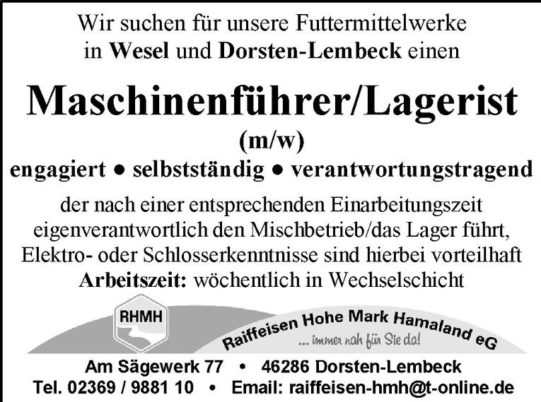 Maschinenführer/Lagerist (m/w)