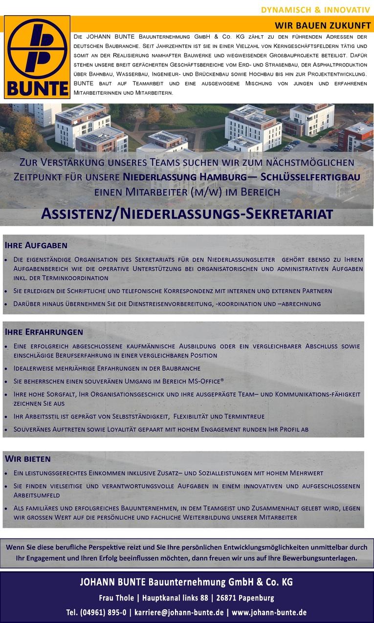 Mitarbeiter (m/w) im Bereich Assistenz/Niederlassungs-Sekretariat für unsere Niederlassung Hamburg - Schlüsselfertigbau