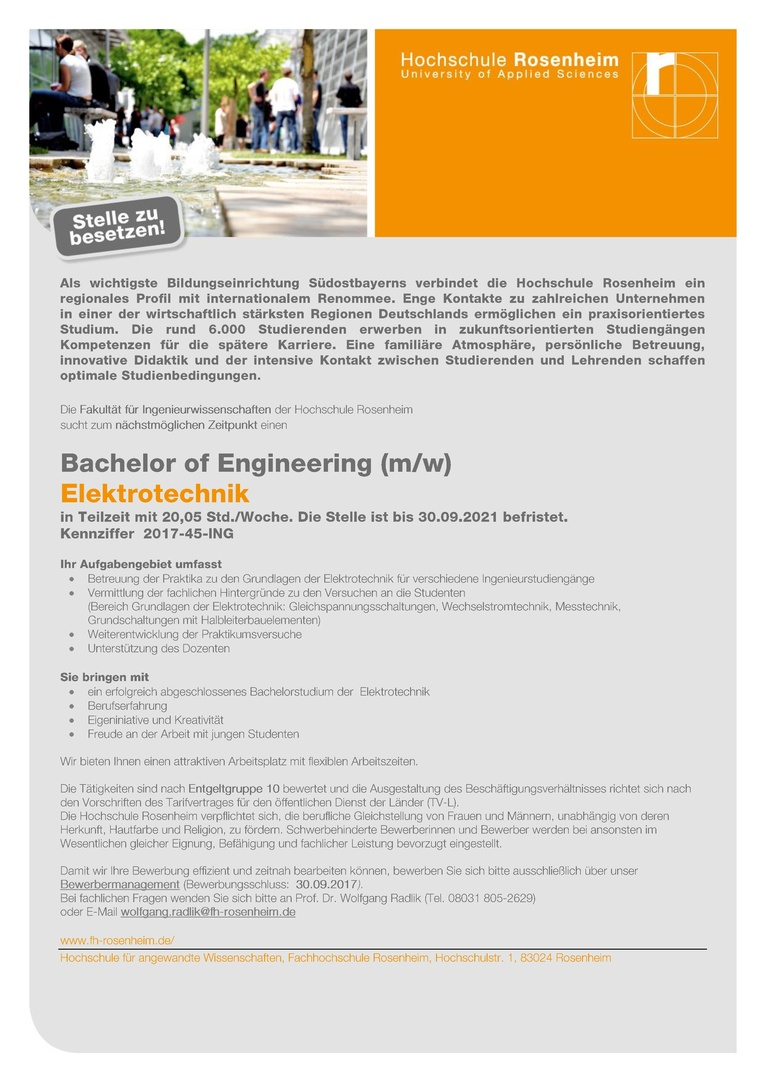 Bachelor of Engineering (m/w) - Elektrotechnik