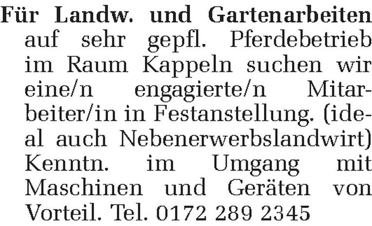 Mitarbeiter/in für Landw. und Gartenarbeiten (m/w)